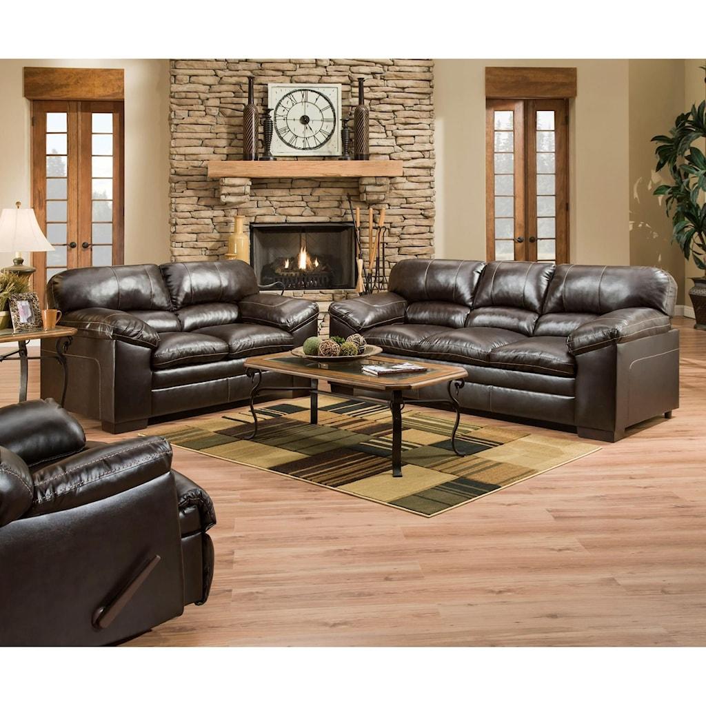 Simmons Upholstery 8049 Bingo Brown Sofa Loveseat and Recliner