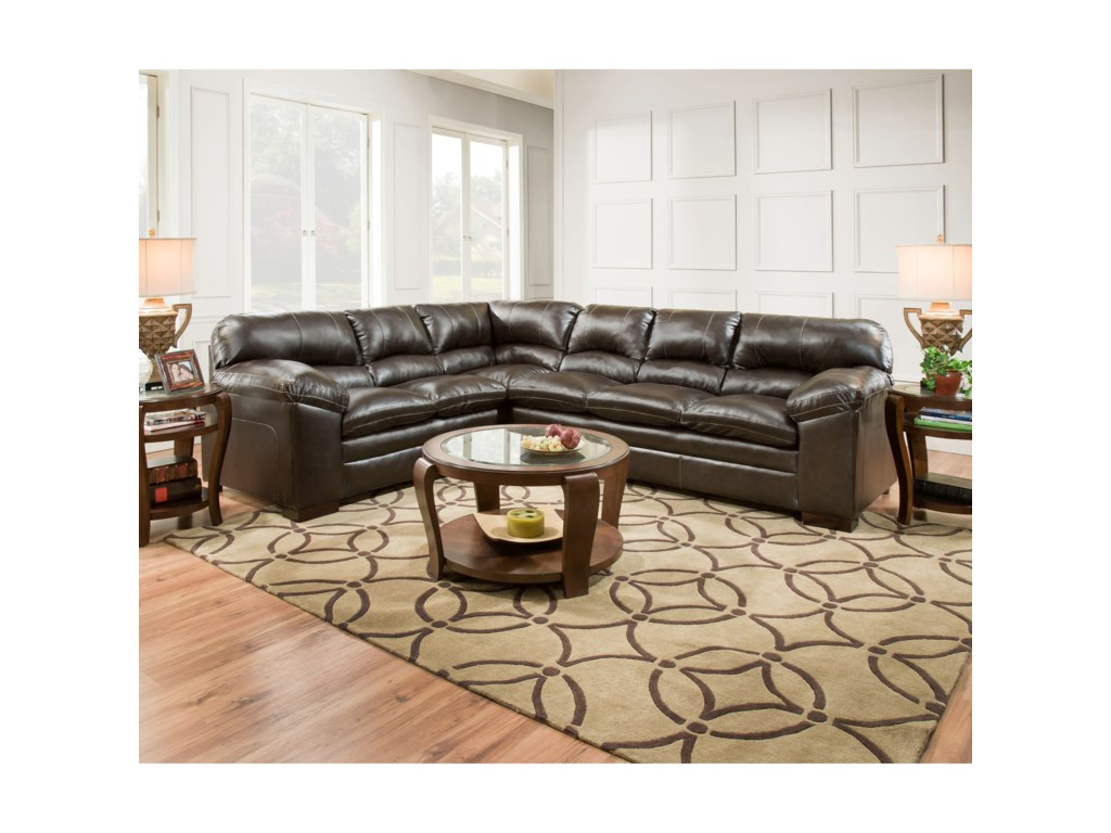 8049 Casual Sectional Sofa With Pillow Arms By Simmons Upholstery