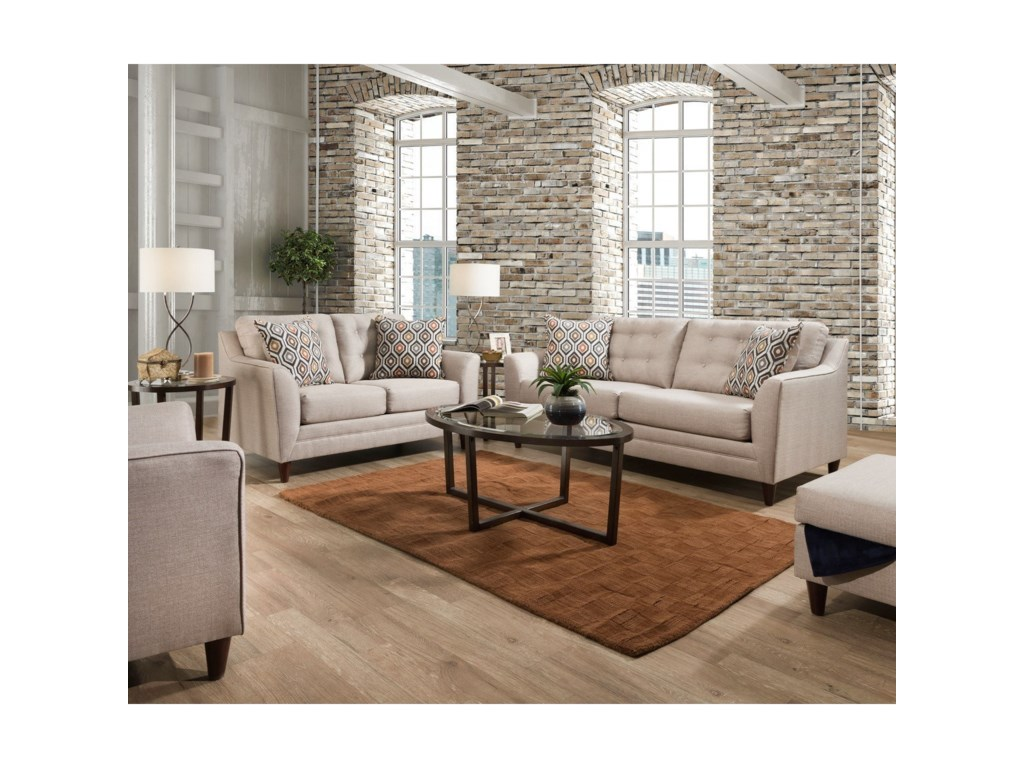 United Furniture Industries 8126Loveseat with Mid-Century Modern Style