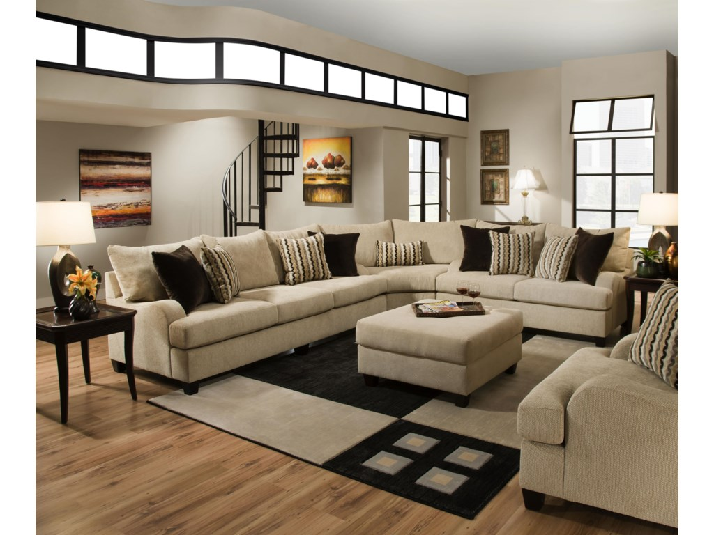 Simmons upholstery 8520 traditional sectional sofa with english rolled arms dunk bright furniture sectional sofas