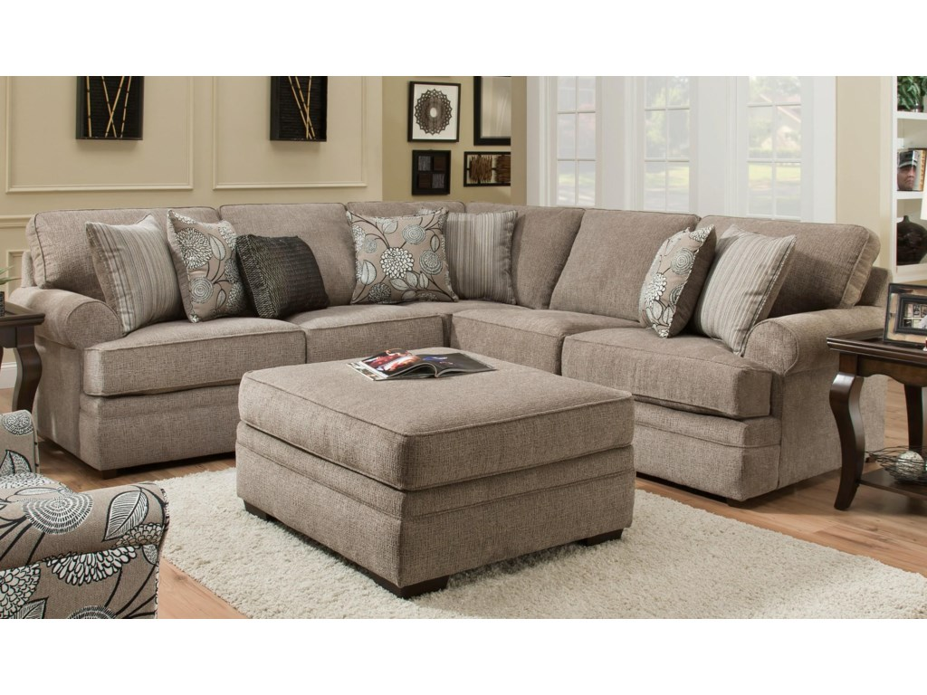 Simmons Upholstery 8530 BRSectional Sofa with Rolled Arms