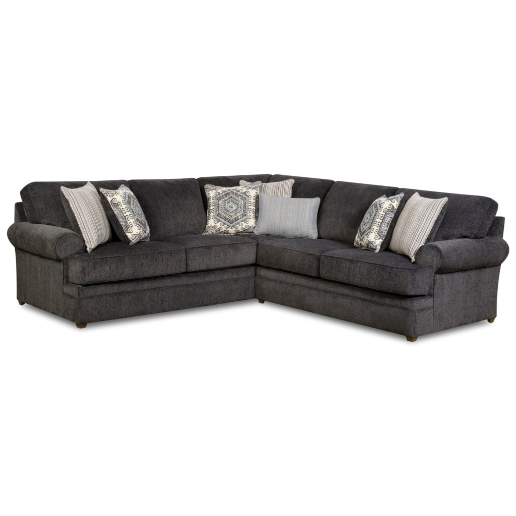 Simmons Upholstery 8530 BR Transitional Sectional Sofa with Rolled