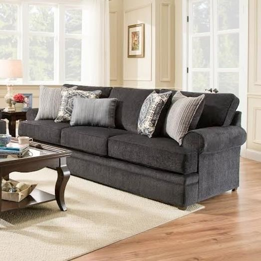 Simmons 8530 BR Transitional Sofa With Rolled Arms