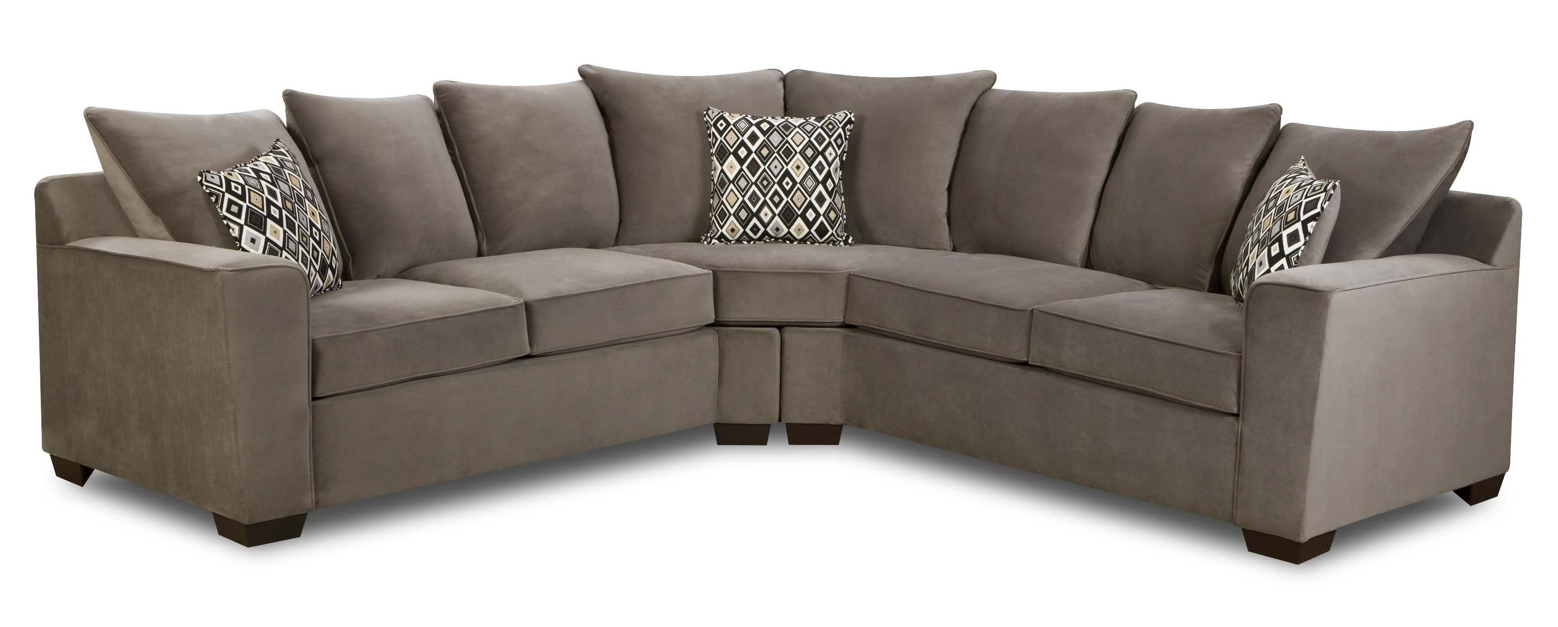 United Furniture Industries 9070 Transitional 2 Piece Sectional Sofa With  Scatter Pillow Back