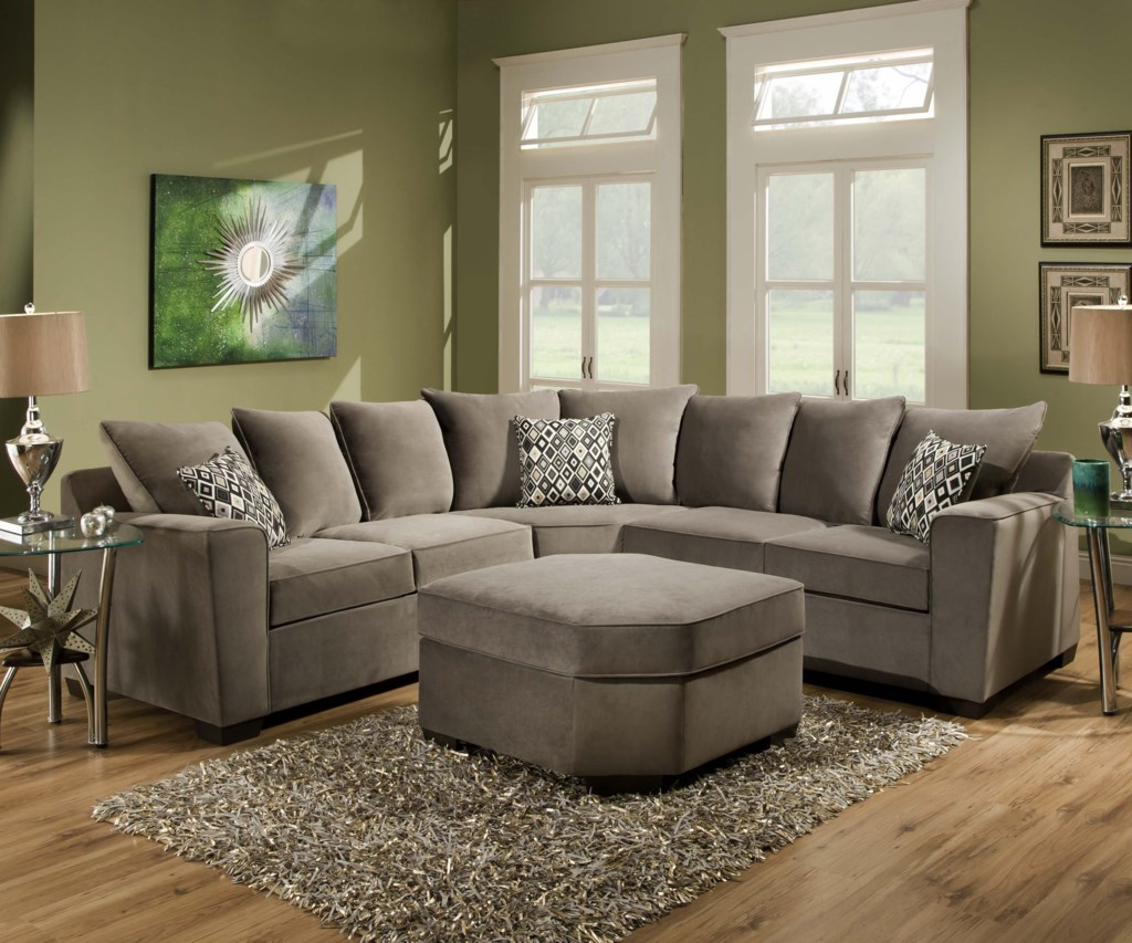 United Furniture Industries 9070 Transitional 2 Piece Sectional  ~ Sectional Sofa With Wedge