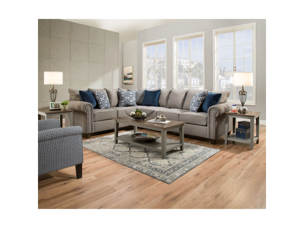 9175br Transitional 5 Seat Sectional With Nailhead Trim By United Furniture Industries At Pilgrim Furniture City