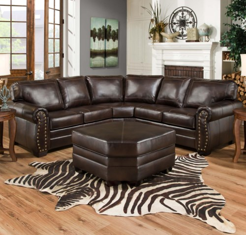 Style Of United Furniture Industries 9222 Traditional Sectional Sofa with Rolled Arms and Nail Head Trim Beautiful - Review Sectional sofa with Nailhead Trim Top Design