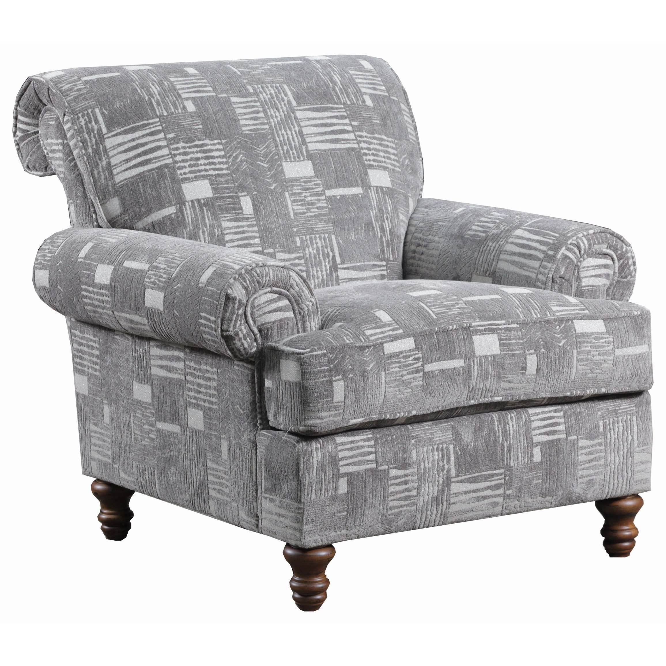 Simmons Upholstery 9255BR Transitional Accent Chair With Turned Legs