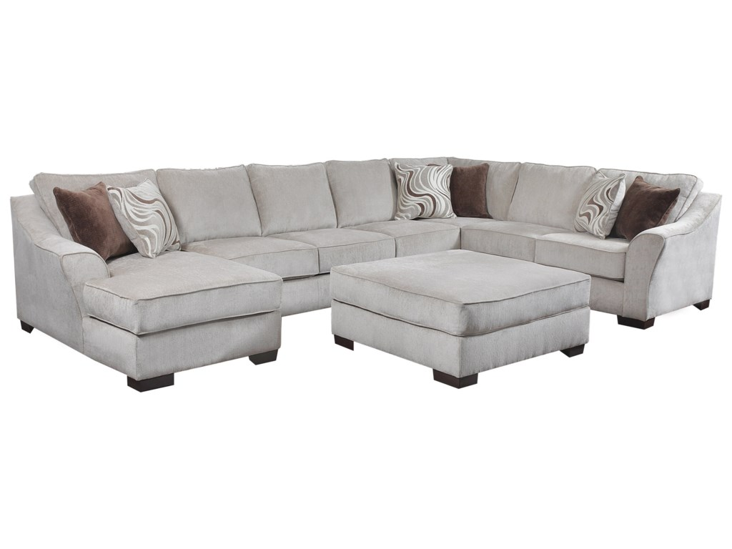 Simmons Upholstery 9355BR Transitional Sectional Sofa | Dunk ...