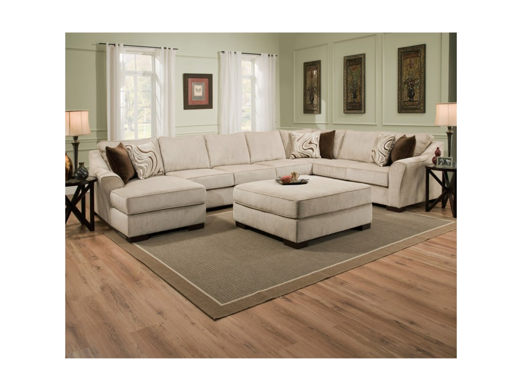 United Furniture Industries 9355BRTransitional Sectional Sofa