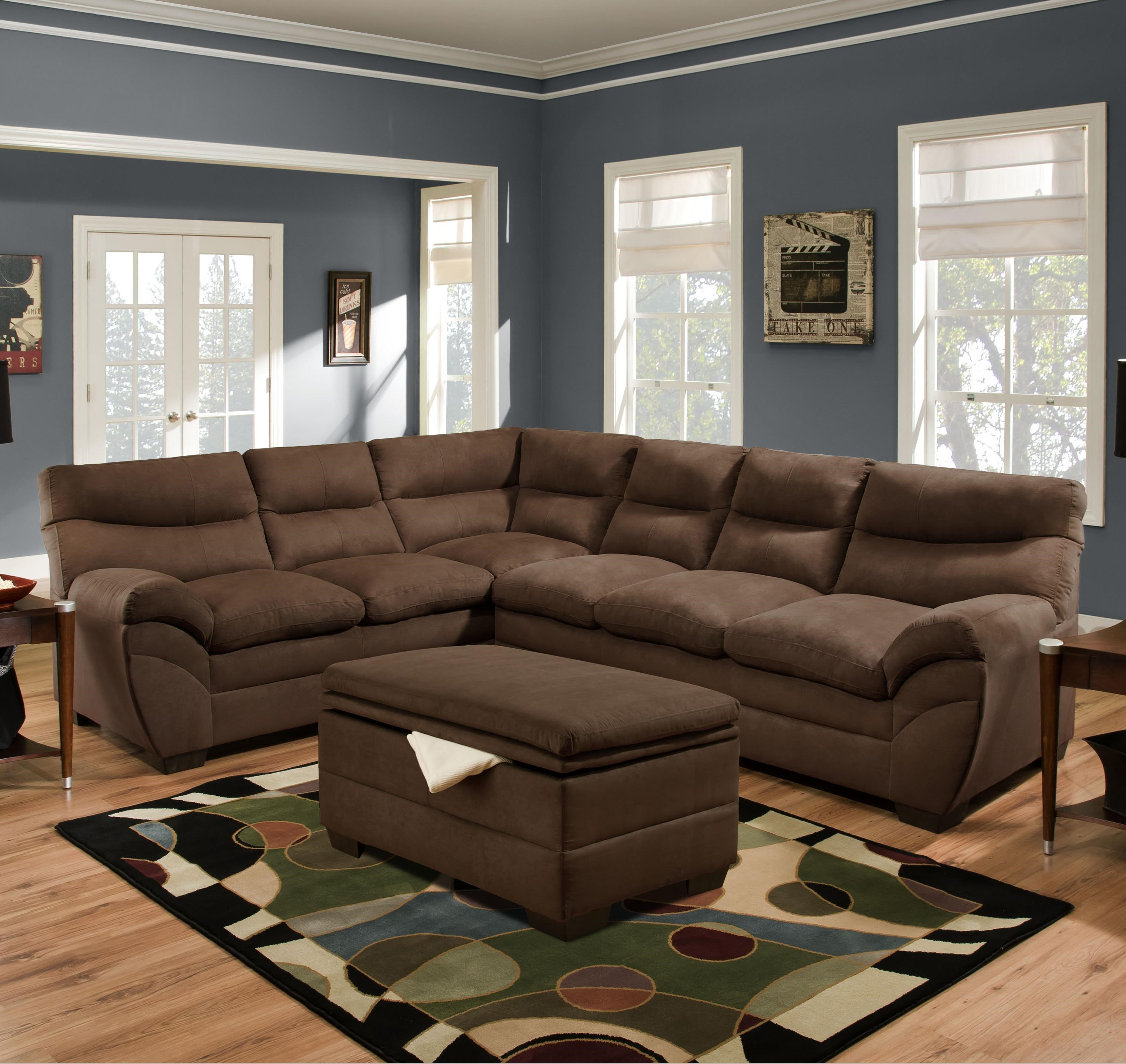 Simmons Upholstery 9515 Casual Sectional Sofa   Dunk U0026 Bright Furniture   Sectional  Sofas