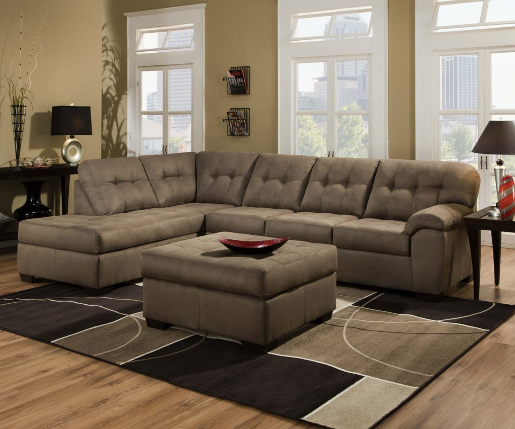 Simmons 9558 Transitional 2 Piece Sectional Sofa With Chaise