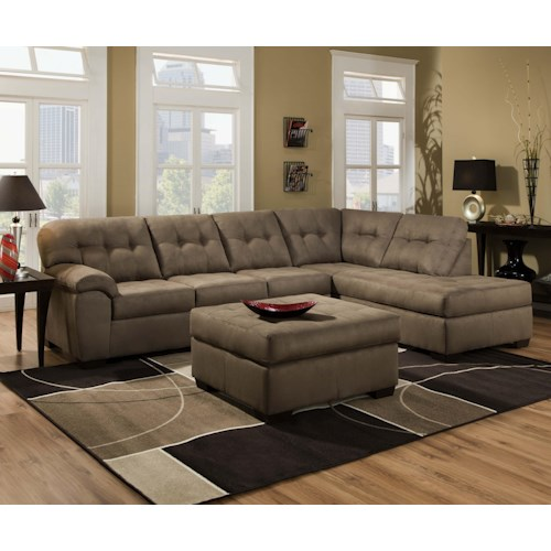 United Furniture Industries 9558 Transitional 2 Piece Sectional sofa with Chaise