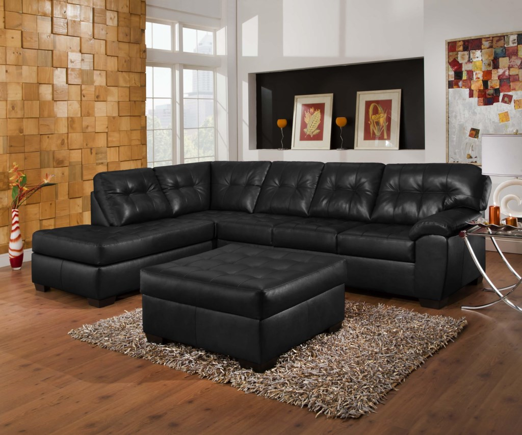Simmons Upholstery 9568 Casual Sectional Sofa With Tufted Seat Back