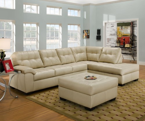 United Furniture Industries 9568 Casual Sectional Sofa with Tufted Seat Back