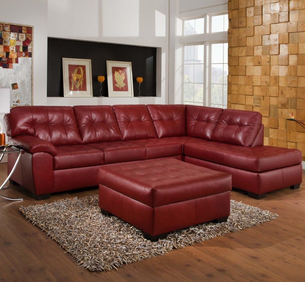 Simmons Upholstery 9569 2 Piece Sectional With Tufted Seats Back  ~ Sofa With Chaise Ottoman