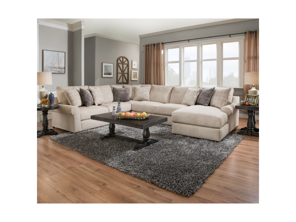 United furniture industries 9906 transitional sectional with pocketed coil seating household furniture sectional sofas
