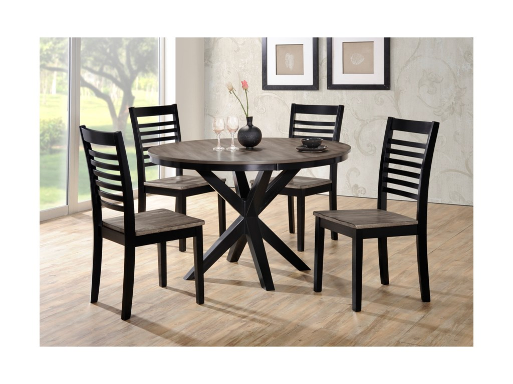South Beach Transitional 5 Piece Round Dining Table And Chair Set With Trestle Base By Simmons Upholstery