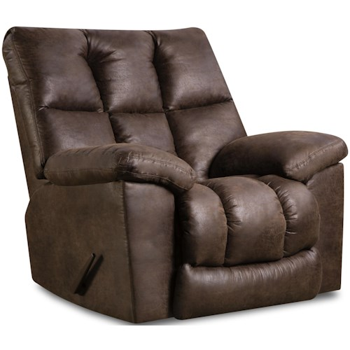United Furniture Industries U694 Rocker Recliner with Pillow Arms and Tufted Back