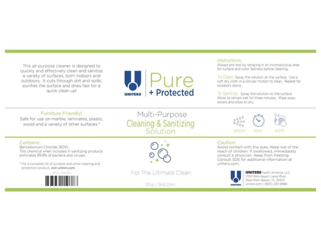 Uniters Pure + Protected Cleaning & Sanitizing Solution32 Oz spray Cleaning & Sanitizing Solution