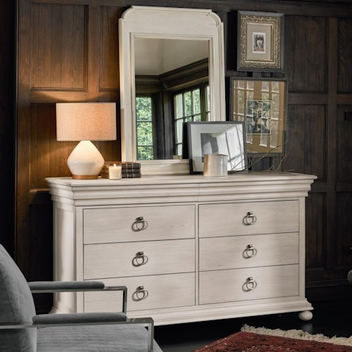 Universal Élan Traditional Dresser and Mirror with Concealed Drawers