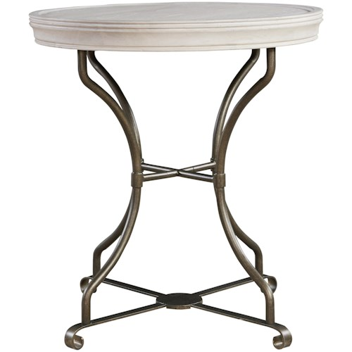 Universal Élan Round End Table with Metal Base