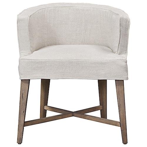 Universal Authenticity Slip Covered Barrel Chair in Belgian Linen