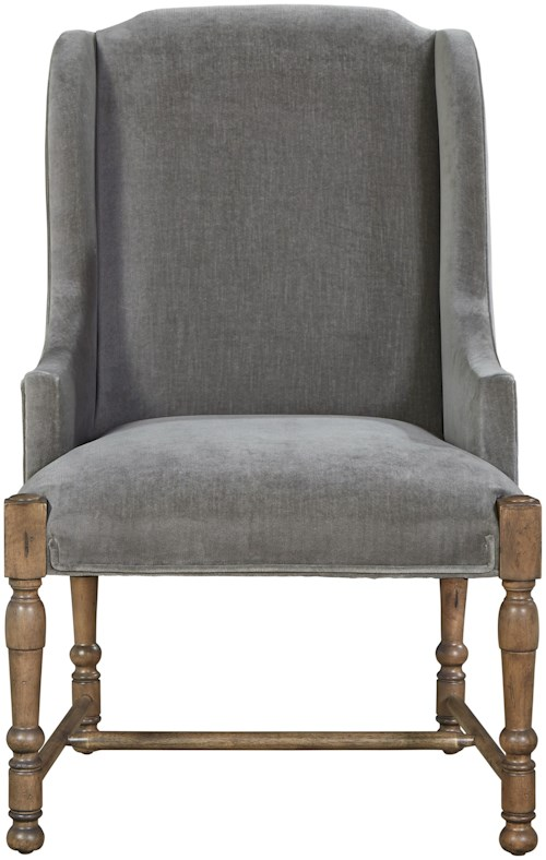 Universal Authenticity Brussels Host Arm Chair in Grey Cloud Velvet