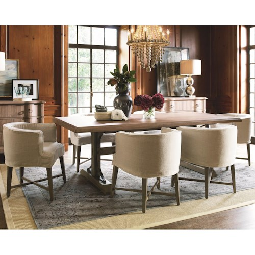 Universal Authenticity 7 Piece Trestle Table and Barrel Chair Set