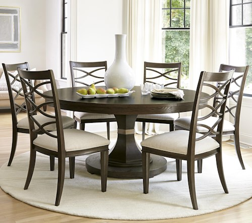Universal California - Hollywood Hills 7 Piece Dining Set with Round Table and X-Back Chairs