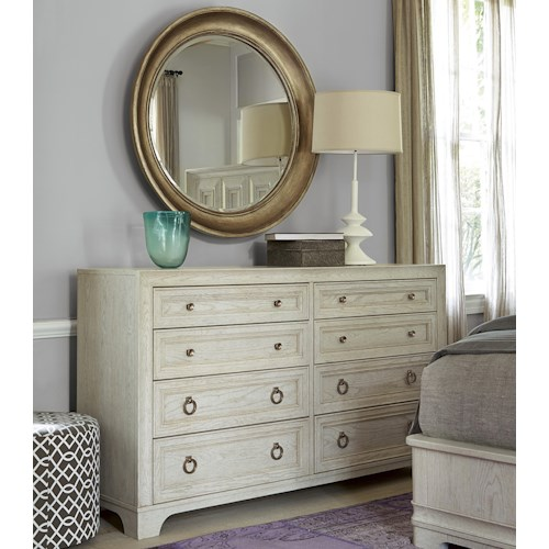 Universal California - Malibu 8-Drawer Dresser and Round Mirror Set