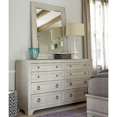 Universal California - Malibu 8-Drawer Dresser with Landscape Mirror
