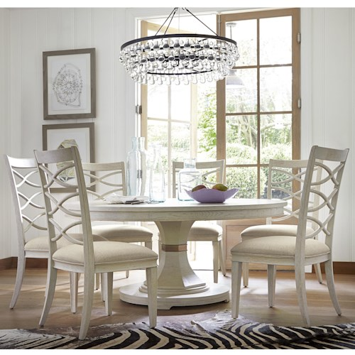 Universal California - Malibu 7 Piece Dining Set with Round Table and X-Back Chairs
