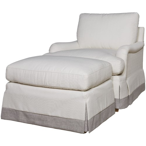Universal Carmichael Upholstered Chair & Ottoman Set in Performance Fabric