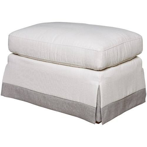 Universal Carmichael Ottoman with Gray Skirt Border