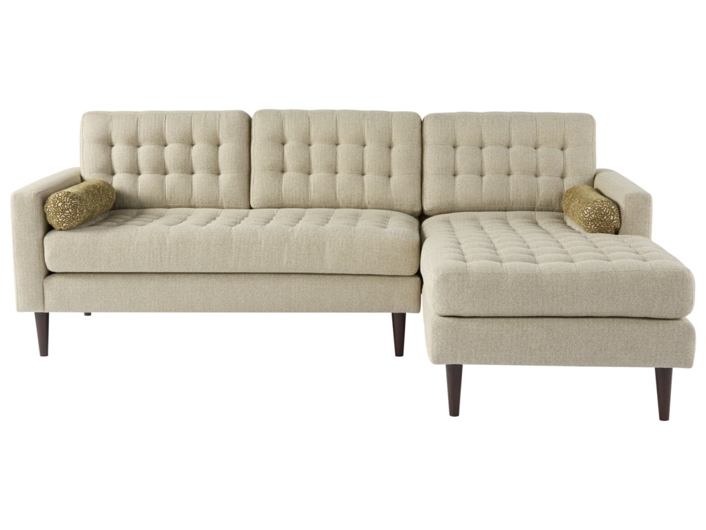 Copeland Mid Century Modern 2 Piece Tufted Sectional Sofa With Raf Chaise By Universal At Hudson S Furniture