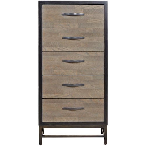 Universal Curated Spencer Narrow Five Drawer Chest in Two Tone Finish