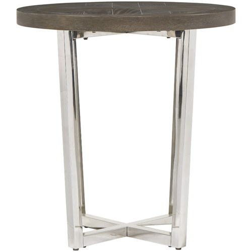 Universal Curated Dorchester End Table with Chrome-Plated Base