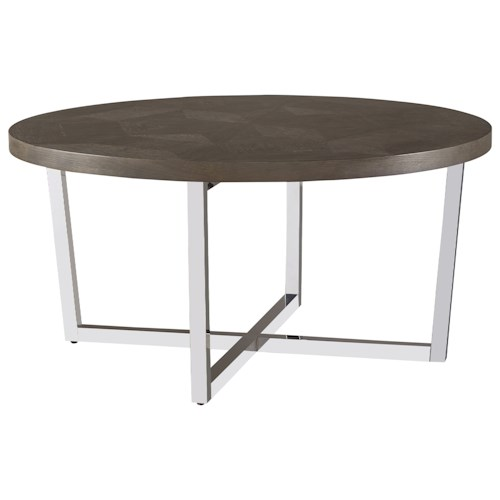 Universal Curated Dorchester Round Cocktail Table with Chrome-Plated Base