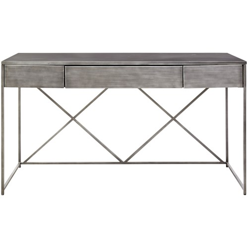 Universal Curated Pembroke Metal Desk with Drop-Front Drawer