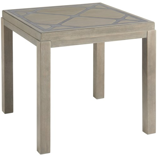 Universal Curated Griffin End Table with Diamond Patterned Top
