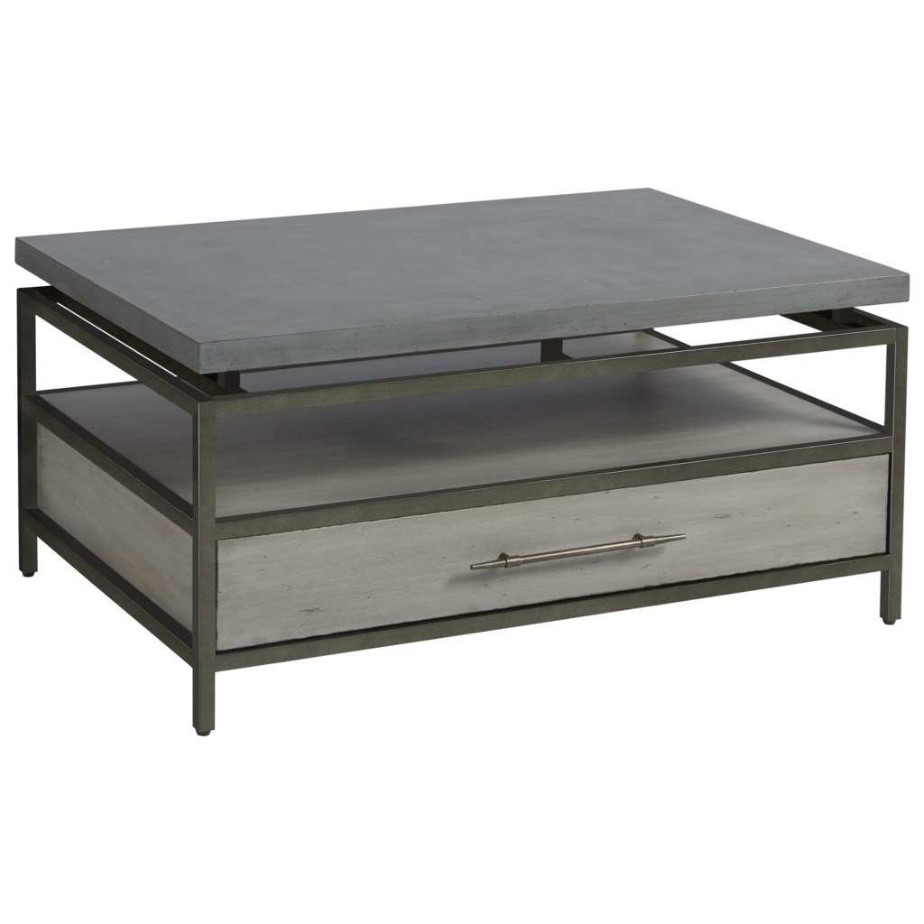 Universal Curated Garrison Cocktail Table With Faux Concrete Top And