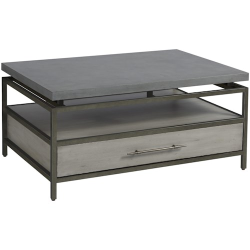 Universal Curated Garrison Cocktail Table with Faux Concrete Top and One Drawer