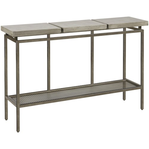 Universal Curated Garrison Metal Console Table with Faux Concrete Top