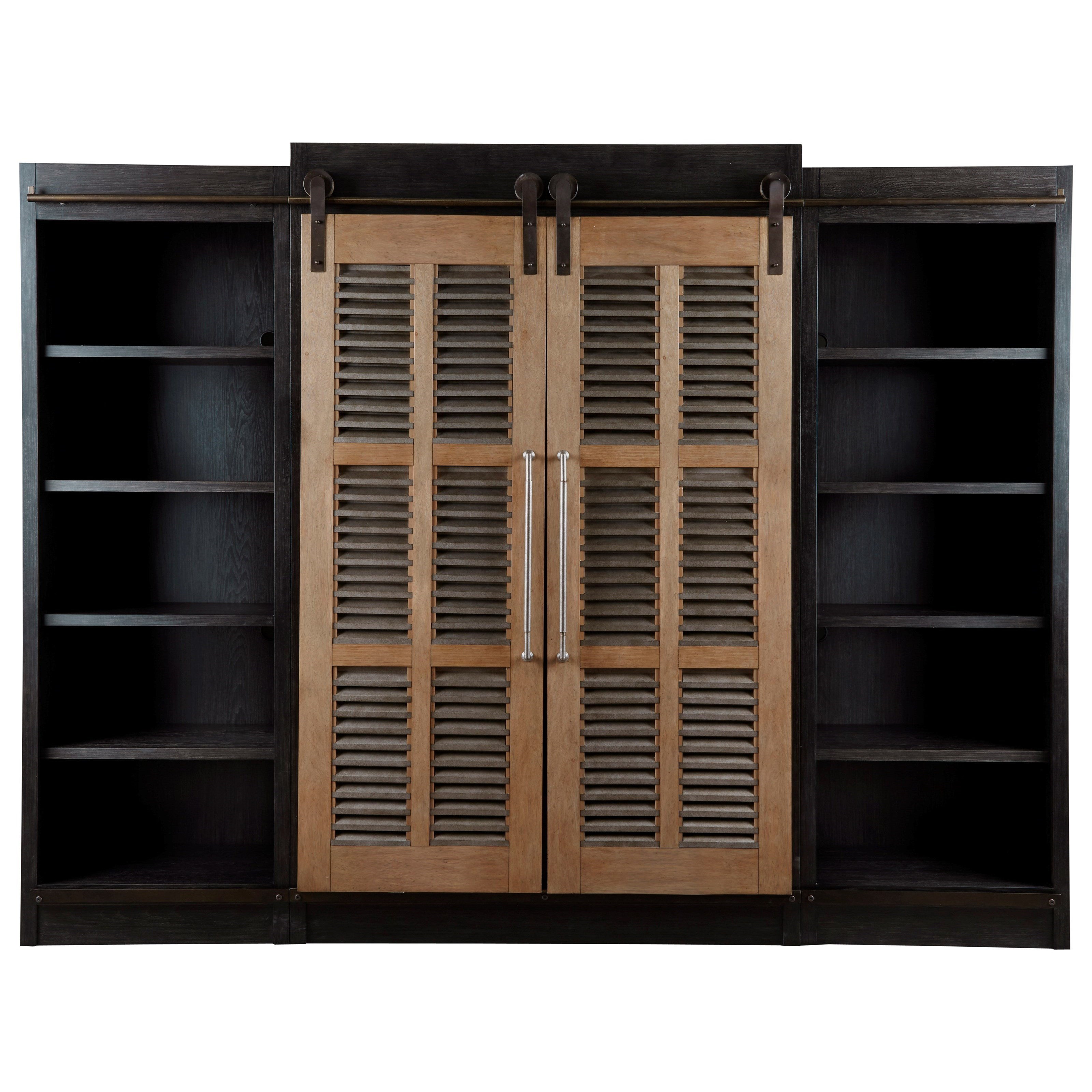 Beau Universal Curated Darcy Entertainment Cabinet With Sliding Farmhouse Doors