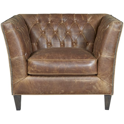 Universal Duncan Traditional Chair in Diamond Tufted Leather