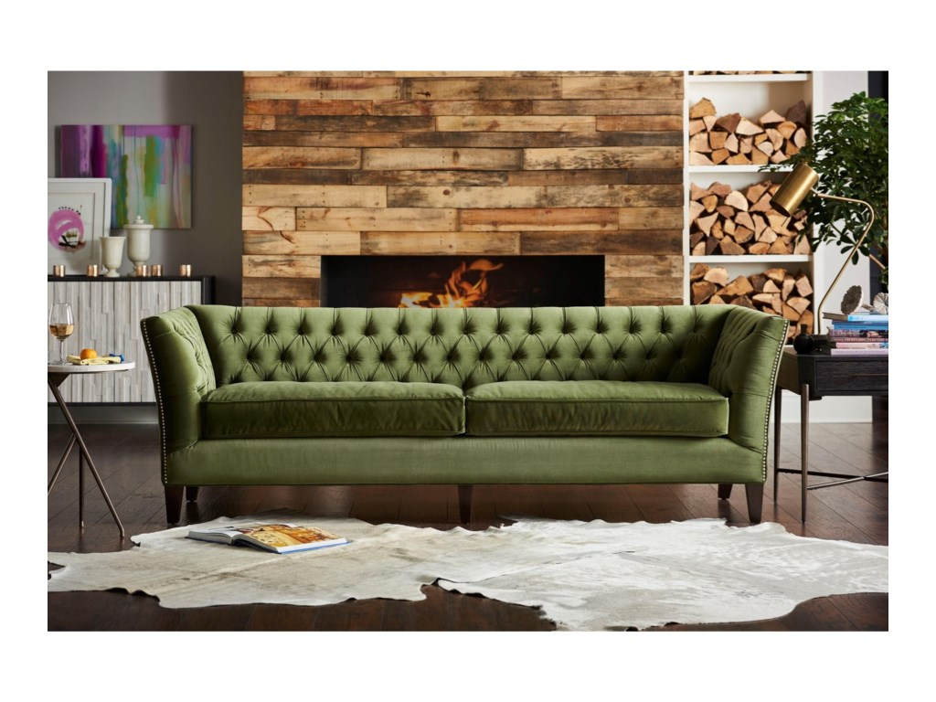 Universal Duncan Transitional Sofa With Tuxedo Arm Howell Furniture Sofas