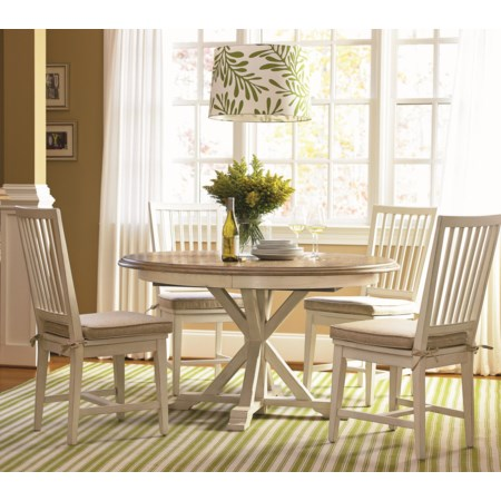 5 Piece Dining Set with Slat Back