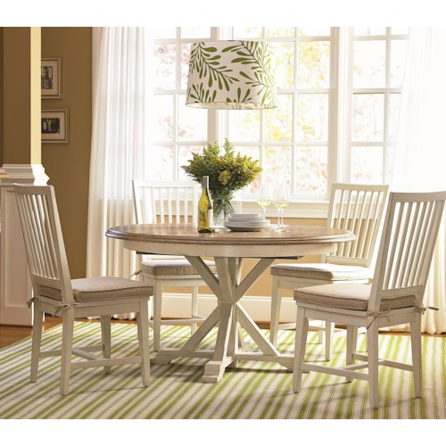Universal Curated 5 Piece Dining Set with Garden Breakfast Table and Slat Back Chairs