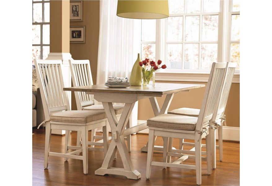 Silver Dining Table And Chairs, Universal Curated 5 Piece Dining Set With Drop Leaf Console Table Esprit Decor Home Furnishings Dining 5 Piece Sets
